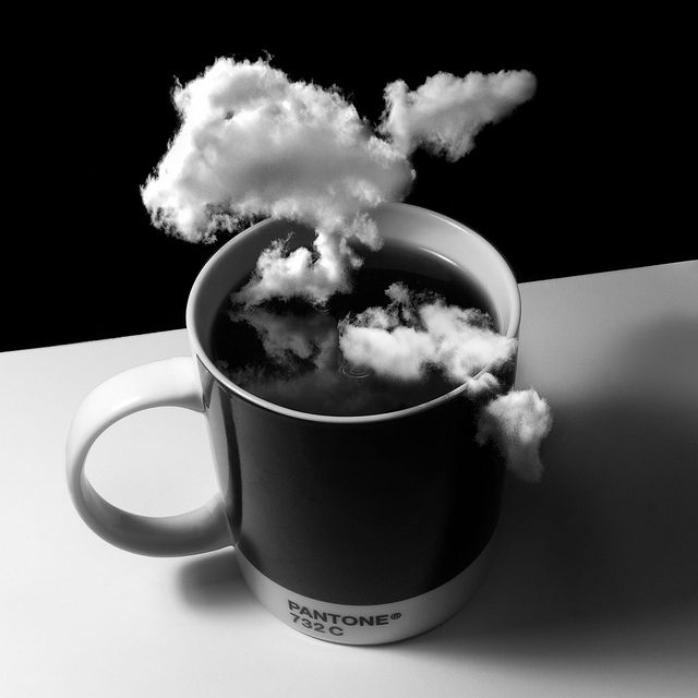 Clouds and coffee - two beautiful things.  Clouds in my coffee. #CoffeeArt