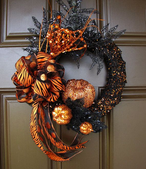 Glitter Halloween Wreath with Tiger Striped and by TheWrightWreath, $50.00