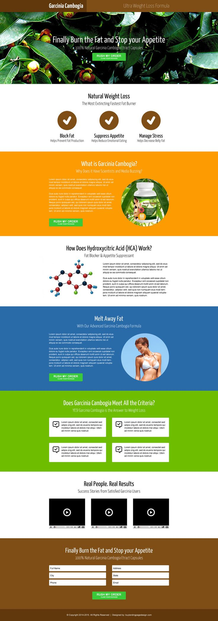 effective garcinia cambogia lead generating opt in box landing page design