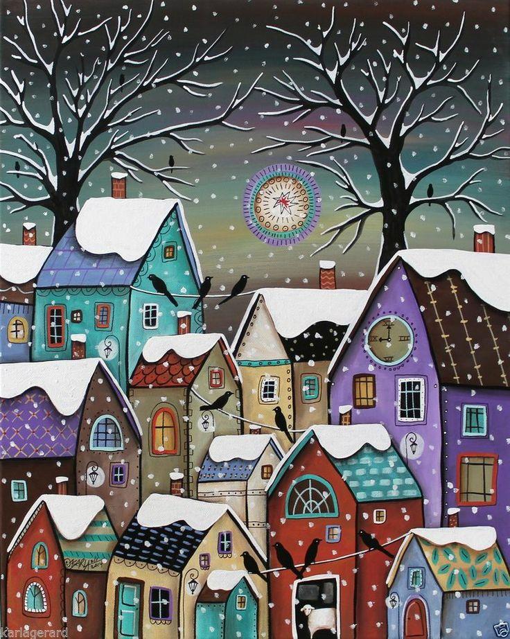 9 PM CANVAS PAINTING WINTER Houses Birds Sheep 16x20inch FOLK ART Karla Gerard.
