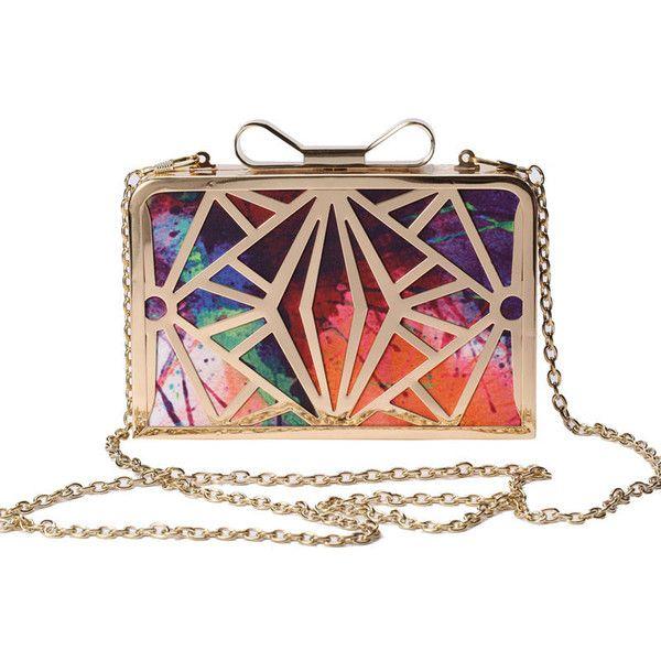 Oh darling clutch found on Polyvore featuring bags, handbags, clutches, bolsos, chain strap handbags, man bag, chain purse, bow handbag and metallic handbags