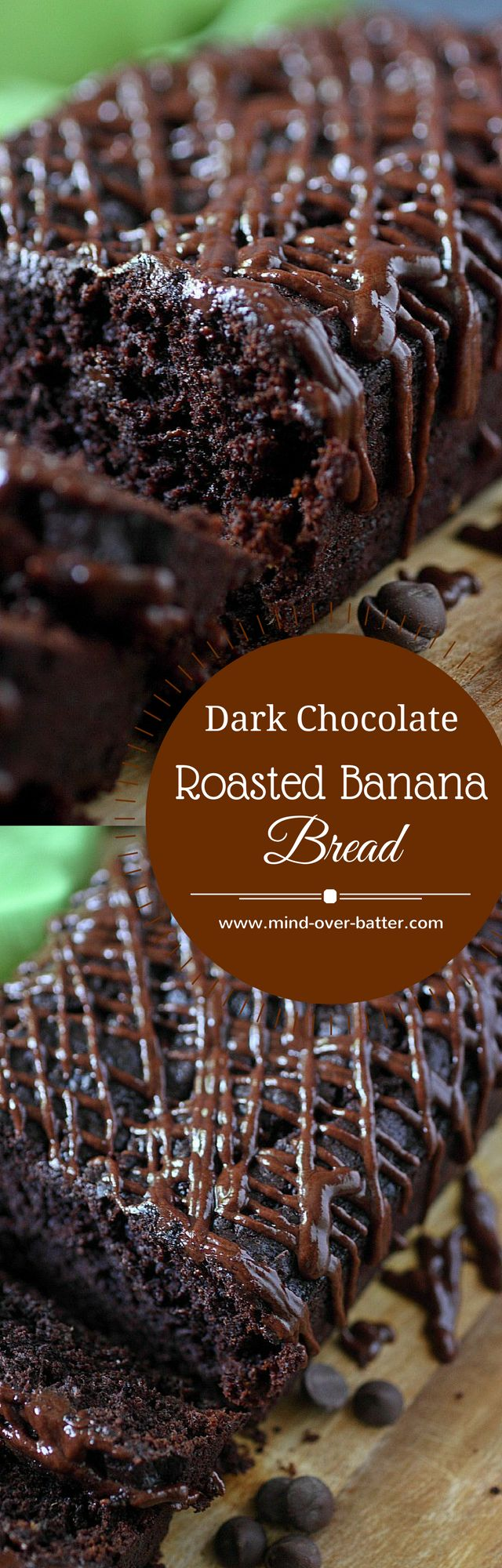 Dark Chocolate Roasted Banana Bread -- www.mind-over-batter.com