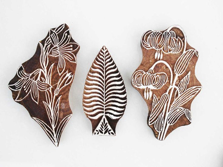 Wooden printing blocks in floral design used in embroidery and fabric at https://www.indianshelf.com/category/wooden-printing-blocks/