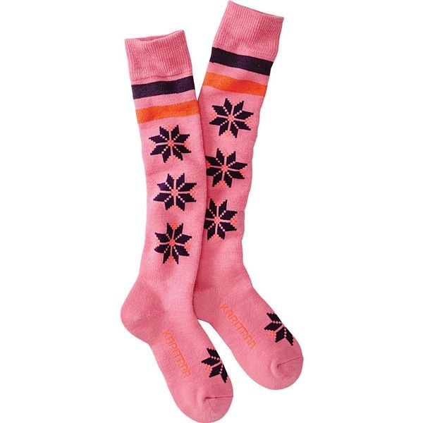 Kari Traa Doctorate Ski Sock ($24) ❤ liked on Polyvore featuring intimates, hosiery, socks, pink, padded socks, padded ski socks, pink socks, long socks and ski socks