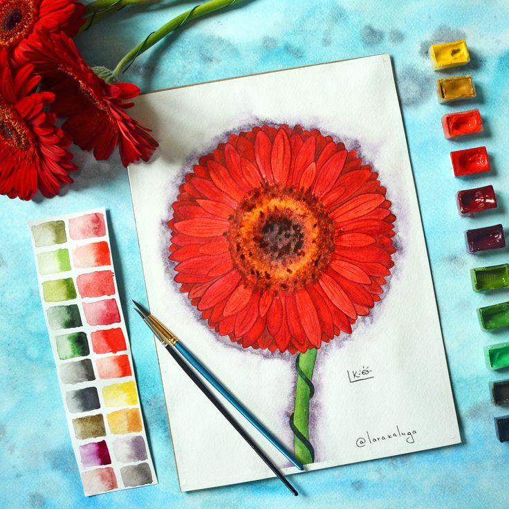 Заканчиваем #рисовать и гоним на работу. #гербер #ilovedraw #botanical #spb #ботанический_баттл #акварель #badartist_larakaluga #палитра #питер #spbgram #artselect #aquarelle #одинденьсхудожником #flower #watercolorflower #realism #colourful #red #redflower #florals