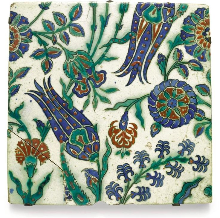 TURKEY | Large Iznik Pottery Tile with Tulips, Carnations, Rosettes and Hyacinths