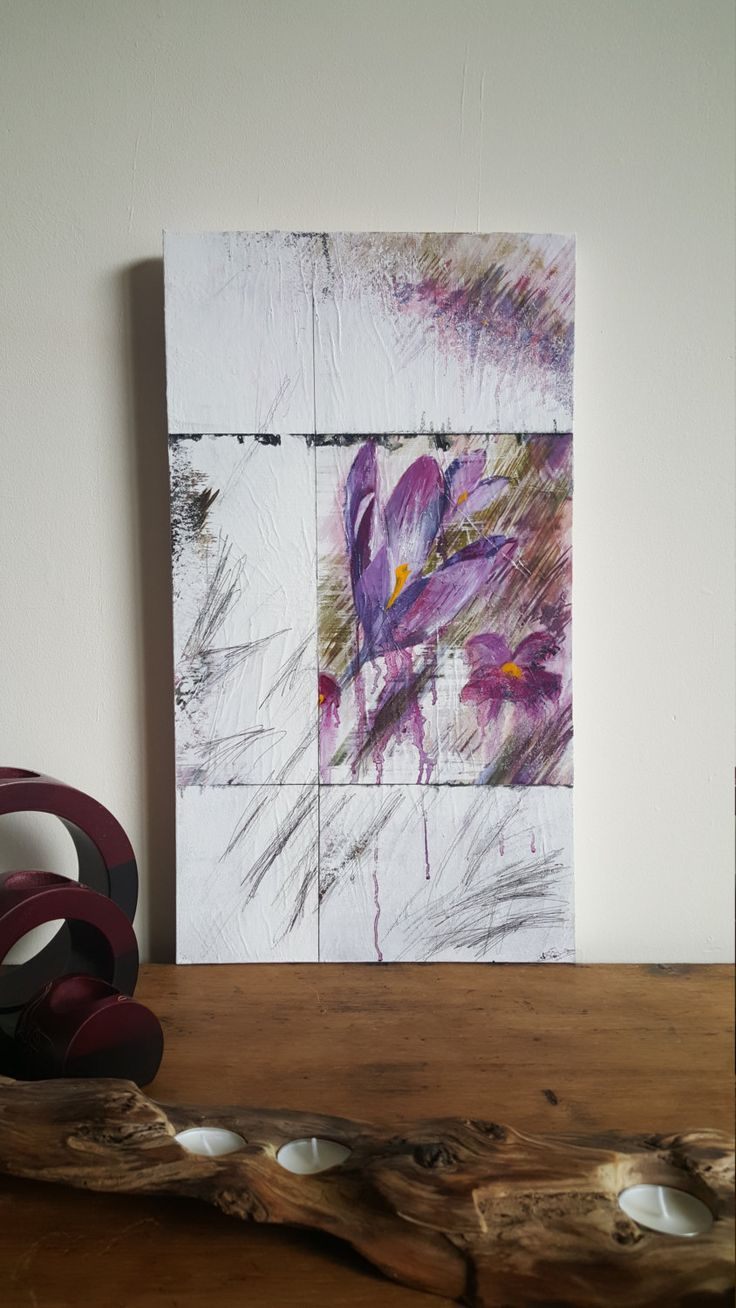 Buy online sunita khedekar paintings - Abstract Art Oil Mixed Media Painting Of Crocuses Pentimento Layered Beautifully