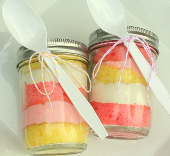 cake in a jar...different colors...make instead of cupcakes for G's school party?