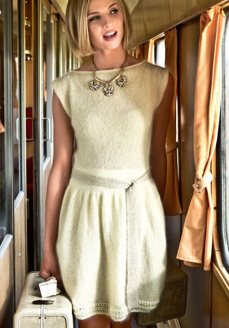 Описание вязания на спицах платья с золотым пояском из журнала «Вязание. Burda» №1/2015