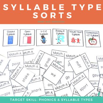 Cards for sorting words into the six syllable types (closed, open, vowel consonant e, r-controlled, consonant -le, and vowel teams). This is a great resource to get some extra practice with short and long vowel sounds and can make for a fun and engaging lesson. This is one of our kids' favorite resources!