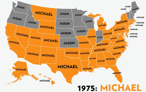 America's Most Popular Boys' Names Since 1960, in 1 Spectacular GIF