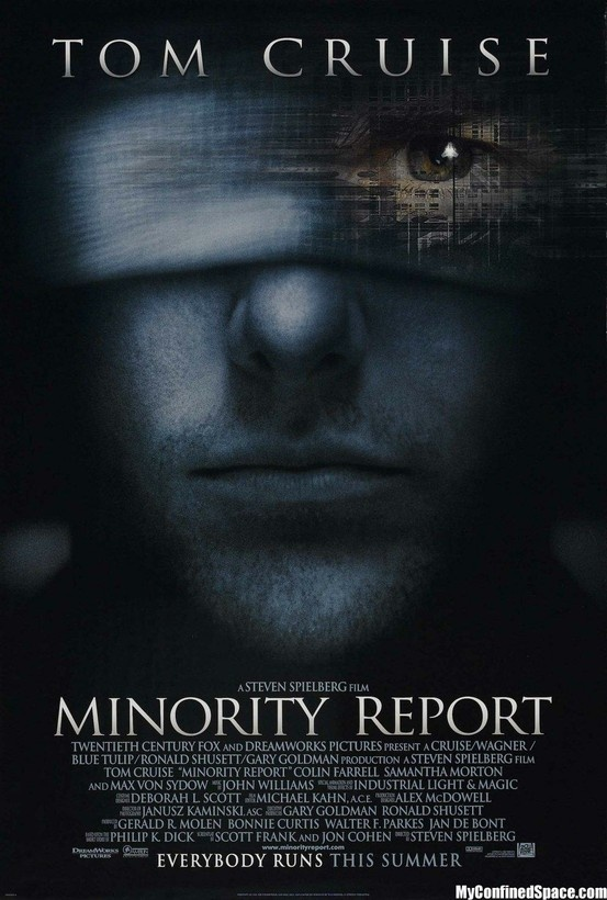 """In Washington, D.C., in the year 2054, murder has been eliminated. The future is seen and the guilty punished before the crime has ever been committed. From a nexus deep within the Justice Department's elite Pre-Crime unit, all the evidence to convict–from imagery alluding to the time, place and other details–is seen by """"Pre-Cogs,"""" three psychic beings whose visions of murders have never been wrong"""