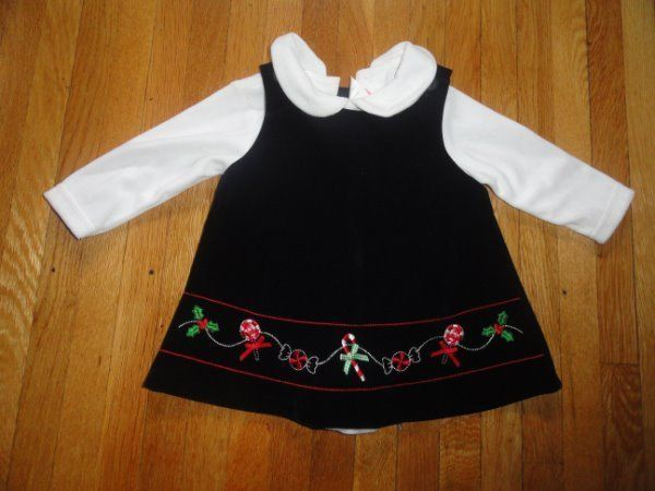 BABY GIRL CHRISTMAS JUMPER DRESS BLOUSE SET VELVET SZ 6-9 MINT CONDITION #DressyEverydayHolidayPageantWedding