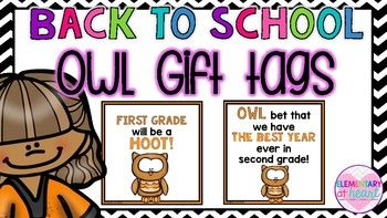 12 Owl themed gift tags in all! Perfect for an owl-themed classroom! Use these gift tags for meet the teacher, orientation, or on the first day of school!-6 different square gift tags ( 2 per page) that read  Owl bet we have the best year ever in___ - Kindergarten- First Grade- Second Grade- Third Grade- Fourth Grade- Fifth Grade6 different square gift tags ( 2 per page) that read  ______ will be a HOOT! - Kindergarten- First Grade- Second Grade- Third Grade- Fourth Grade- Fifth…