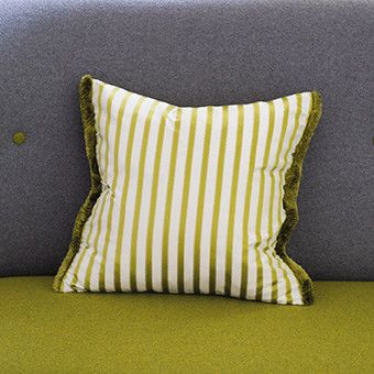 Our signature stripe now hails as a super smart square cushion, ideal as a sophisticated dressing to almost any interior. our fine franchini silk with a moss st