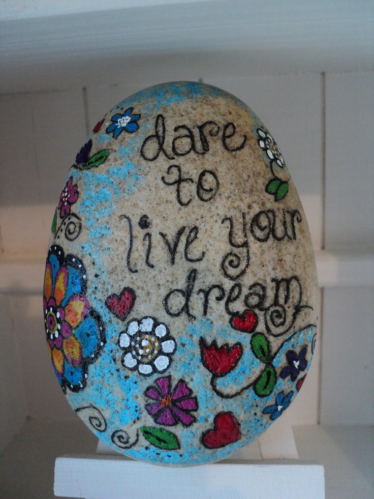 Dare to live your dream. Inspirational hand painted beach stone.. $13.00, via Etsy.