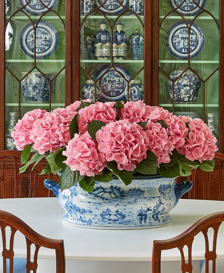 Blue and white with pink hydrangeas.