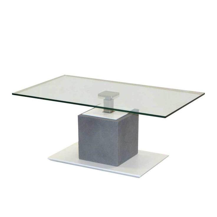 Höhenverstellbarer Couchtisch In Weiß Grau Beton Optik Glasplatte Jetzt  Bestellen Unter: Https://
