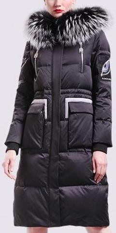 Long Fur-Hooded Puffer Down Coat with Patch Embroidery in Black