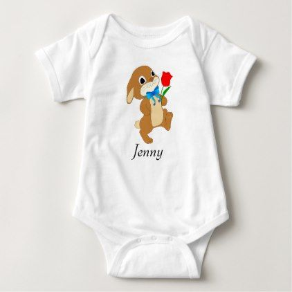 Baby easter bunny with red rose baby bodysuit baby gifts baby easter bunny with red rose baby bodysuit baby gifts giftidea diy unique cute baby gifts pinterest negle Images