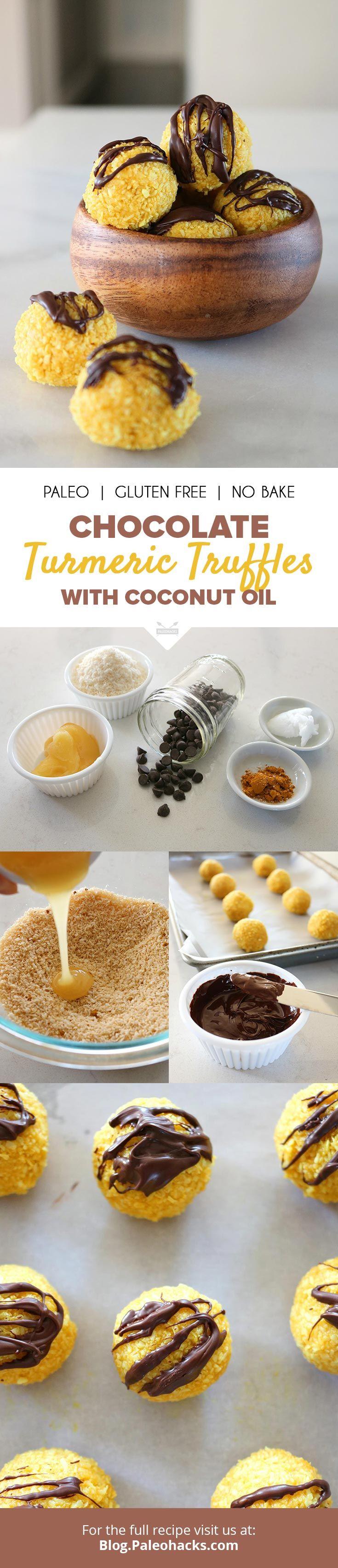 Chocolate Turmeric Truffles with Coconut Oil   #justeatrealfood #paleohacks