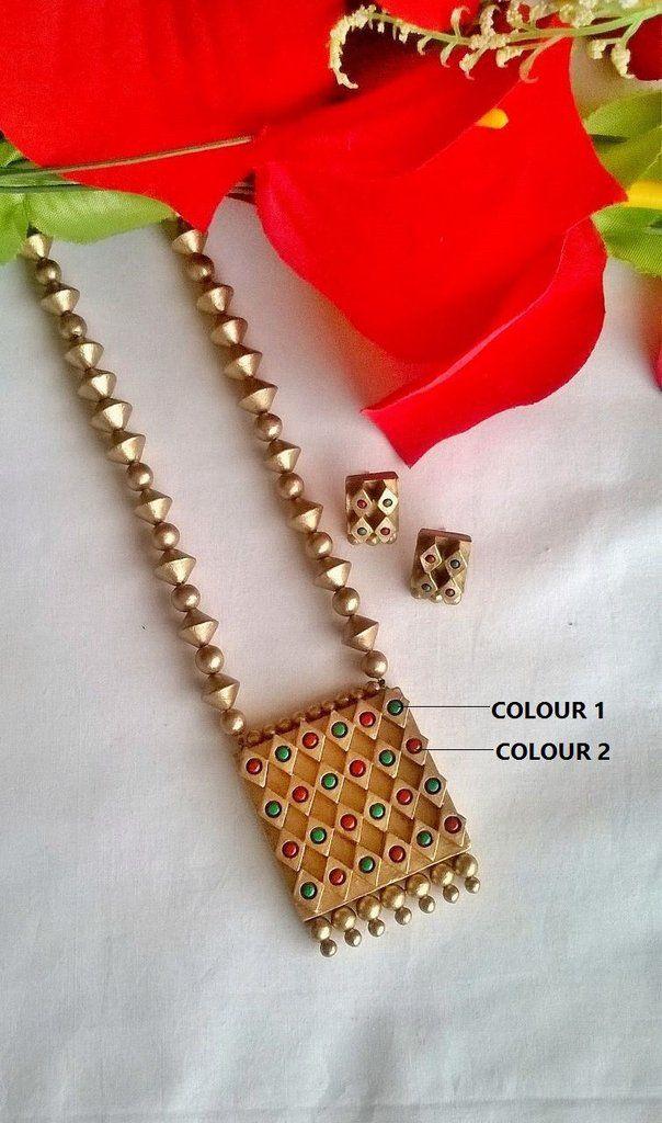 Ethnic Square Pendant Teracotta Jewelry Set – TRADENIMBO