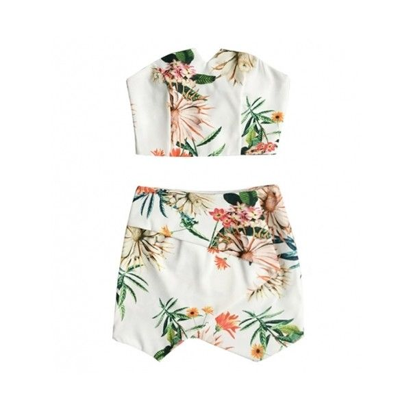 Two Piece Painted Floral Bralet And Wrap Skirt Set ($34) ❤ liked on Polyvore featuring dresses, skirts, tops, two piece and floral two piece