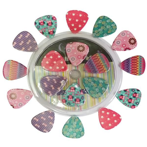 Girly Guitar Picks Set - Medium Size Celluloid 12-pack - Unique Colorful Designs - Best Gifts for Girls Kids Teens Daughter Granddaughter Niece Women - Great Th