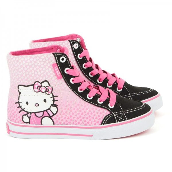 My daughter would clean for weeks to get me to buy her these. She lives for all things HelloKitty. I use to wish it would end but it keeps her a child in this adult like world. I gotta admit, I kinda like Hello Kitty too. It just grows on you. Vans Hello Kitty Pink Corrie Hi at alexandalexa.com