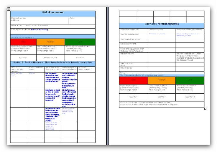 Manual Handling Risk Assessment Manual handling, Free