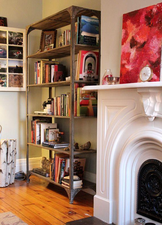 industrial bookshelf: Book Shelf, Wood Bookshelf, Industrial Bookshelf, Fireplaces, Interiors Spaces, Living Room, Bookshelf Accessorizing, Book Shelves, Bookshelf Style