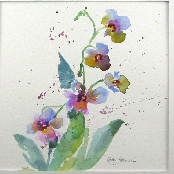 Hi! You are purchasing an original, signed watercolor painting from the Simple Pleasures Collection by Patty Harmsen. The size of the painting is 9 x 8.75 Purchase includes a 12 x 12 white mat, making this ready for a frame upon arrival. Simple Pleasures - Orchid by #watercolorarts