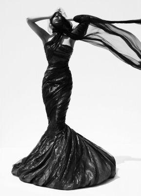 Dress made of trash bags.