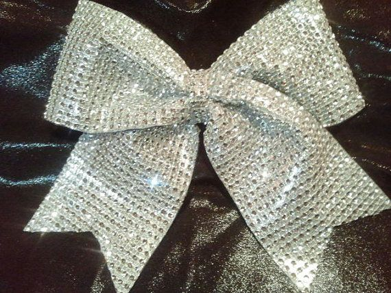 Bling Luxury Cheer Bow Silver Big 3 Texas Size by BowheadNation
