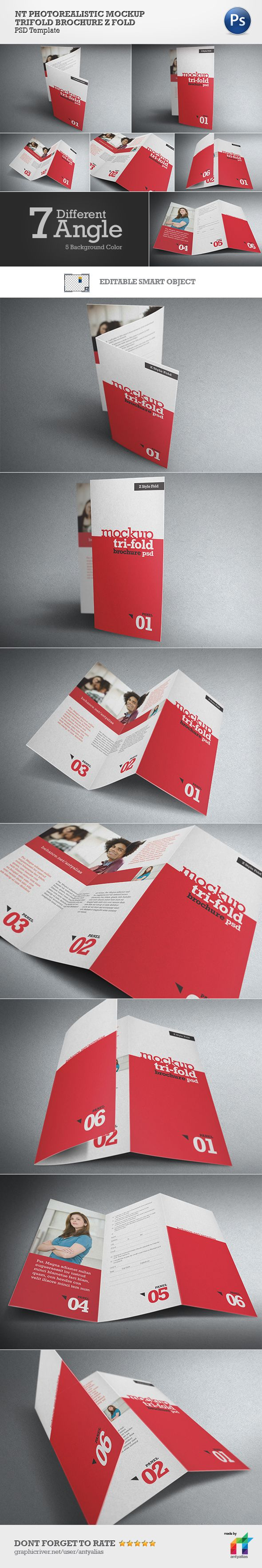 NT Photorealistic Mockup Trifold Brochure Z Style on Behance