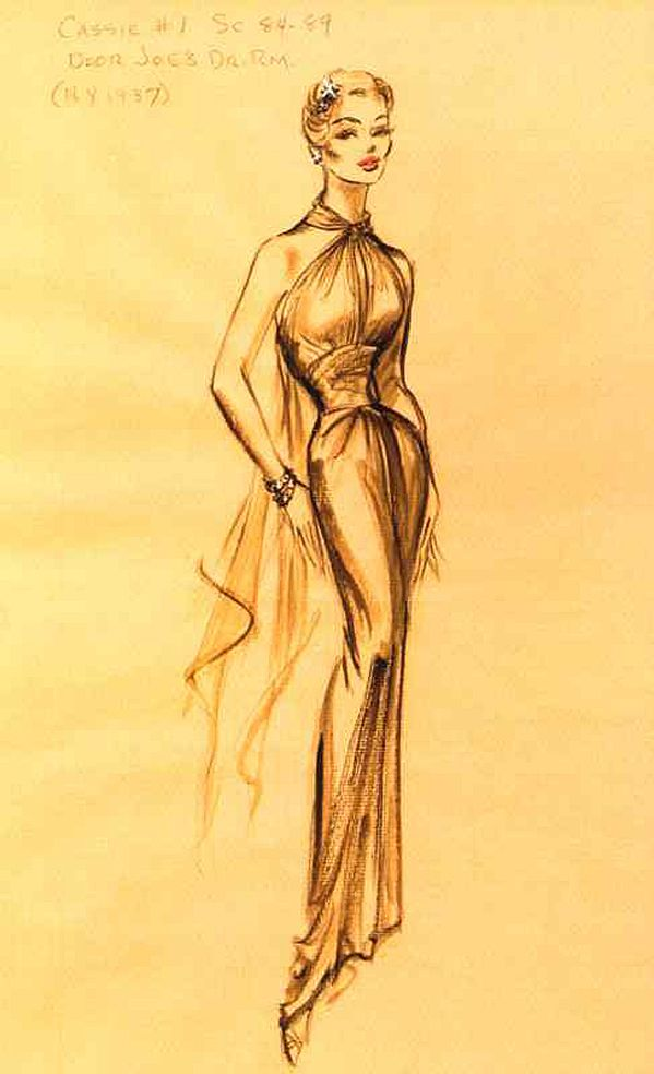 Edith Head sketch for Beverly Garland