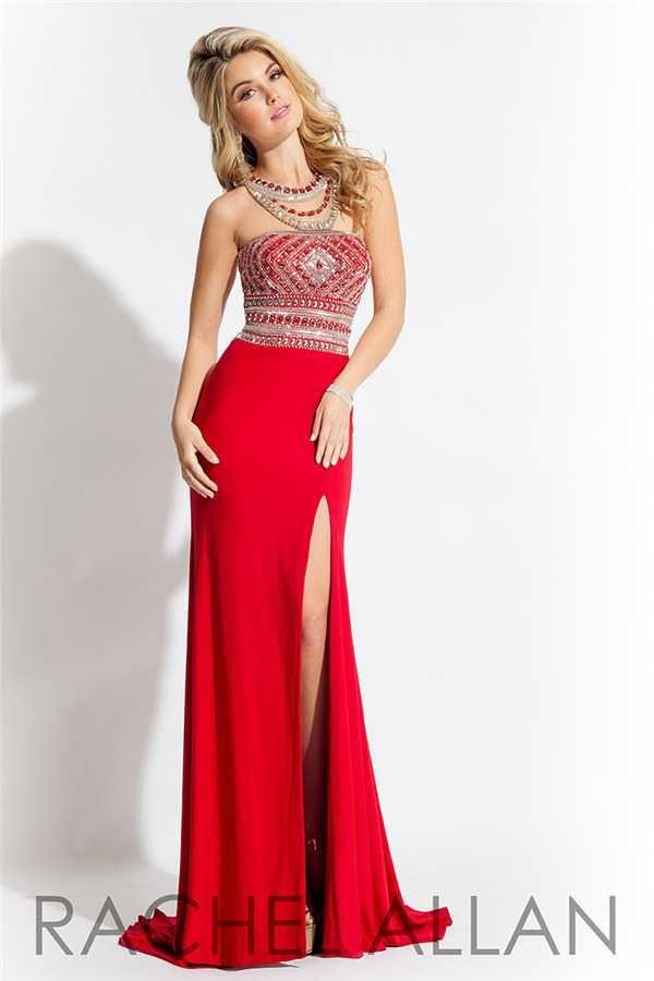 Amazing Beaded Rachel Allan 7115 Long Slit Formal Prom Dresses Hotsale