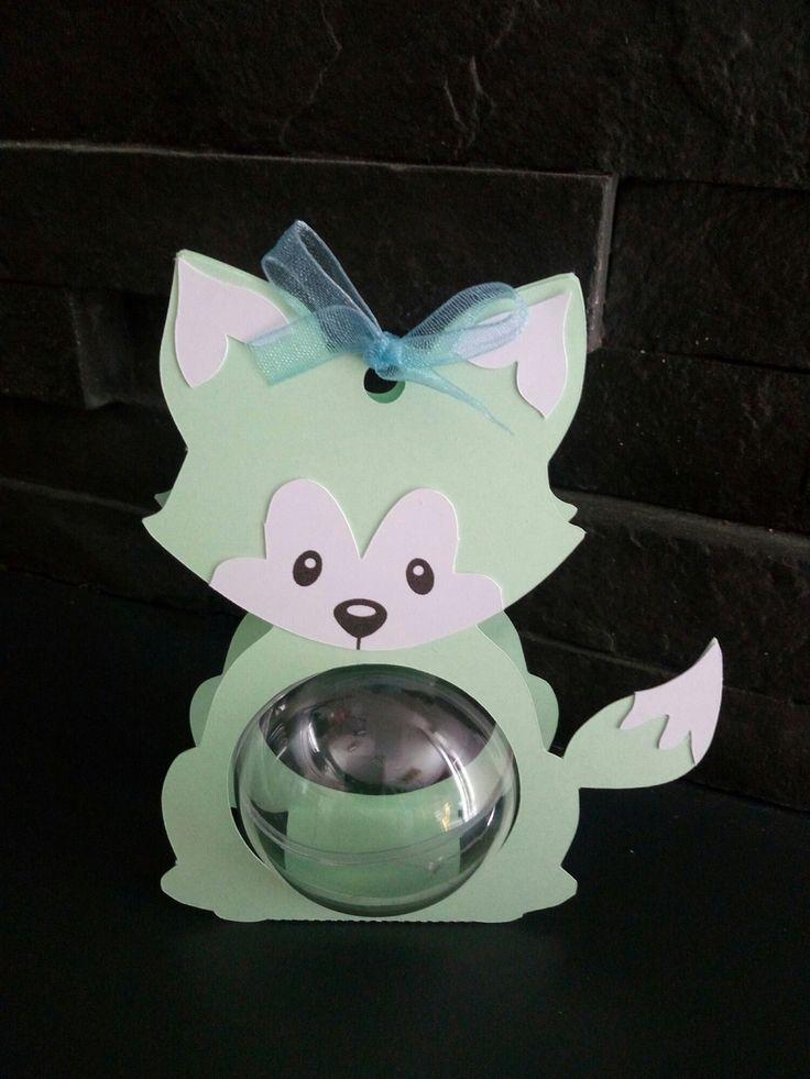 Boite à dragées baby renard vert  boule plexi ( baptême, naissance, anniversaire)