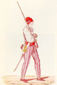 """Sans-culottes - Group of working class men who supported the Revolution and wore trousers - hence the name """"sans culottes"""" meaning """"without knee breeches."""""""