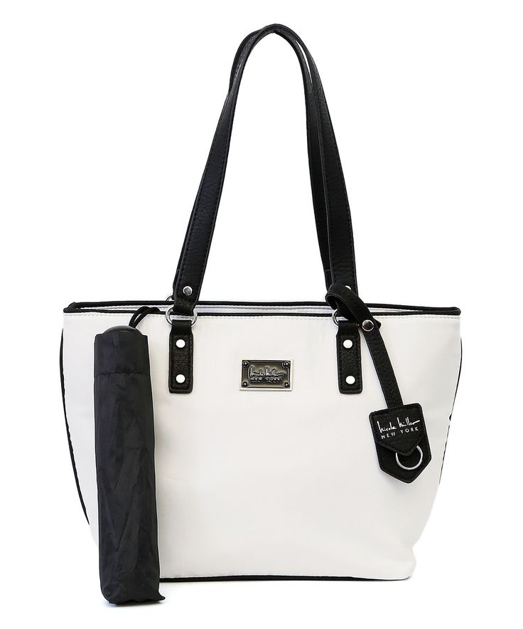 Another great find on #zulily! White & Black Taylor Tote & Umbrella by Nicole Miller New York #zulilyfinds
