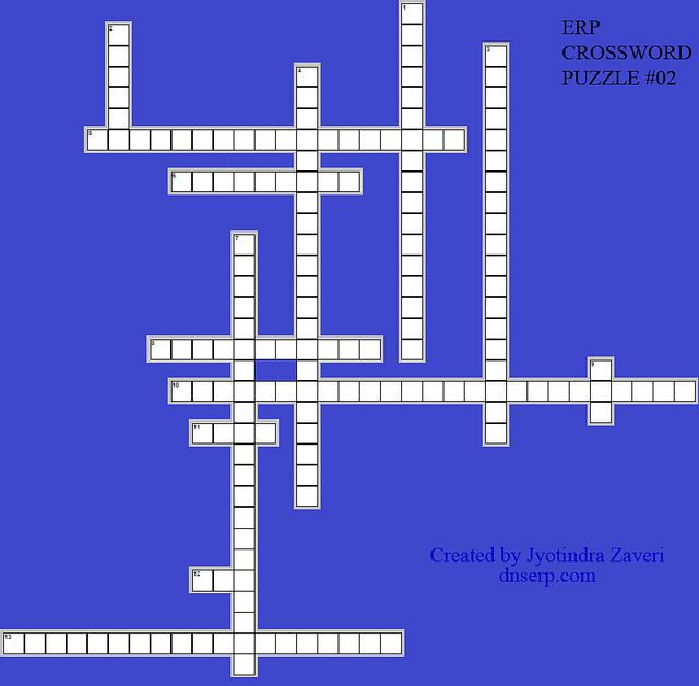 ERP Crossword Puzzle # 02 on ERP Glossary.  Learn with Fun - Try to solve to find how much ERP jargon do you know.