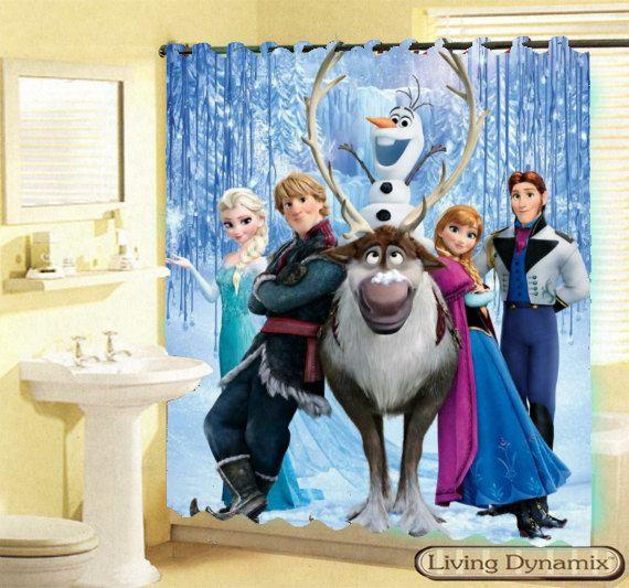 New 2014 Disney Frozen Elsa Anna Olaf Oskar Custom Shower Curtain Mine Craft Game Avilable 3 Size Bath GIFT Limited On Etsy