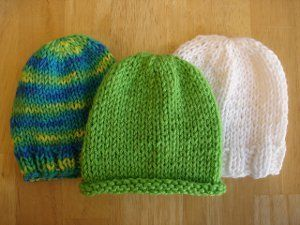 These cute little knit hat patterns take almost no time to finish. The Lickety-Split Baby Hats are  perfect last minute gifts for a tiny newborn or an expecting mother. These hats are knit in stockinette stitch with large needles.