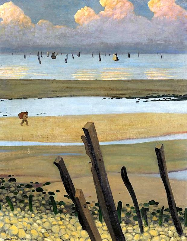 Low Tide at Villerville, 1922 (oil on canvas) by Felix Edouard Vallotton