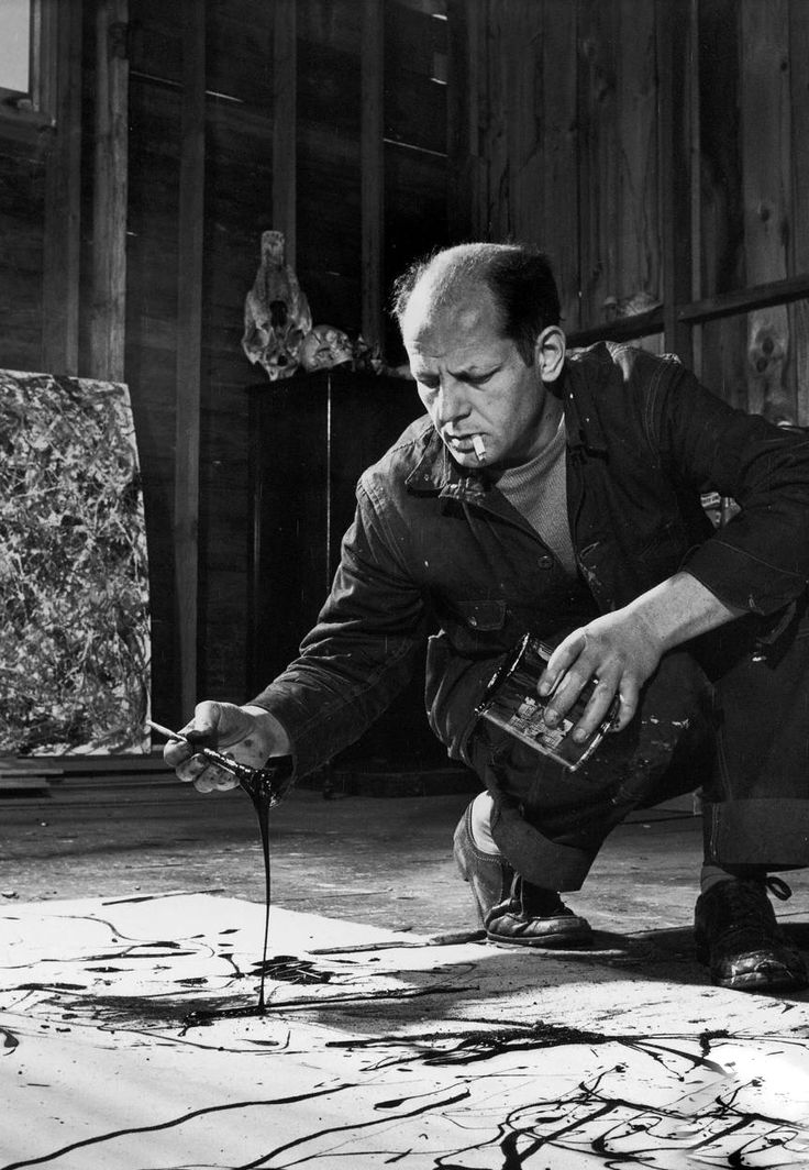 Jackson Pollock - Painter as he paints in the way of his famous drip style. So cooool :) Ash x