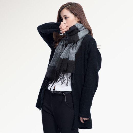 Kvalitný ručne tkaný kašmírový a bavlnený šál - model 02
