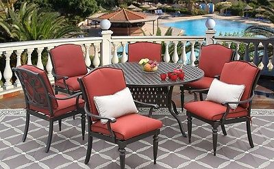 BAHAMA CAST ALUMINUM OUTDOOR PATIO 7PC DINING SET 60 INCH ROUND TABLE