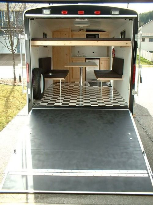 A cool conversion I saw on Tiny House America: Virtually everything folds away and you still have a cargo trailer when needed.