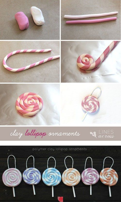 Clay lolipops would work great w fondant for cakes too
