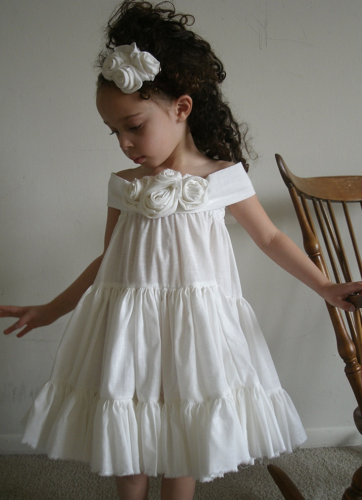Matching Ring for Wedding Flower Girls Birthday Dress Beautifu Natural Cream Ruffled Dress with Flowers. $14.00, via Etsy.